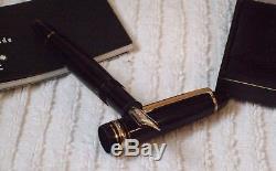 Boxed Mont Blanc Meisterstuck Fountain Pen Black & Gold 14k Nib Superb