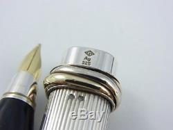Cartier Vendome Oval Sterling Silver 925 Fountain Pen F
