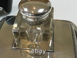 Crystal inkwell with silver stand and black Montblanc ink
