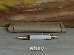 MONTBLANC Boheme Lacquer with Akoya Pearl Ballpoint Pen & Leather Case NEAR MINT