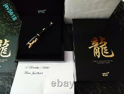 MONTBLANC DRAGON F. PEN CHINA YEAR 2000 ULTRA RARE, GOLD 18kt LUCKY#0080 NEW