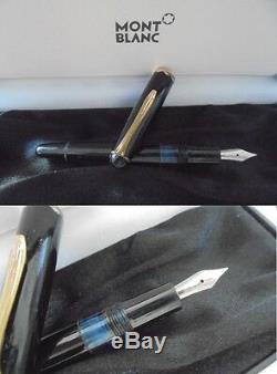 MONTBLANC MONTEROSA PENNA STILOGRAFICA RESINA NERA E ORO + SCATOLA Fountain Pen
