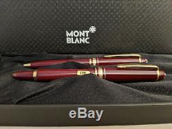 MONTBLANC Meisterstuck Mozart Burgundy Red Mini Ballpoint Pen & Fountain Pen Set