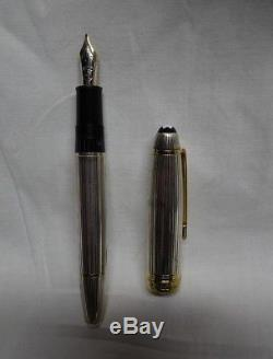 MONTBLANC Meisterstuck Solitaire M1468 925 Sterling 18K Fountain Pen In Case
