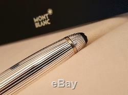 MONTBLANC Meisterstuck Solitaire Sterling Silver 18K F Nib 146 Fountain Pen, NOS