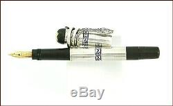 MONTBLANC N 1 SILVER/BLUE GREEK PATTERN SAFETY PEN / MB1 NIB/ 1920s/serpent clip