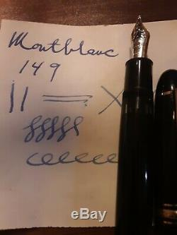 Montblanc 149 c. Early 1990's. 18K 2 tone B or BB nib. Brass piston mechanism