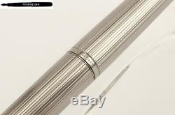 Montblanc Classic Fountain Pen Metal Silver Guilloche goldplated M-nib (No 2229)