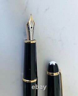 Montblanc Classique Meisterstuck Fountain Pen Black with Gold Trim (Fine Nib)