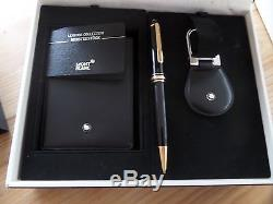 Montblanc Great Set Pencil 0.5mm + Leather Key Fob + Leather Pocket Notebook New