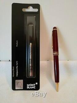Montblanc Meisterstuck Classique Ballpoint Pen Burgundy Gold Trim New Refill