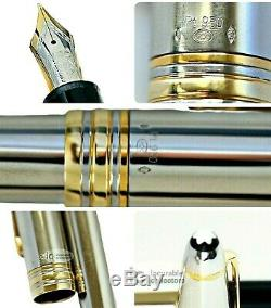 Montblanc Meisterstuck N. 146 Solid 950 Platinum/ 18k Gold Rings Fountain Pen New