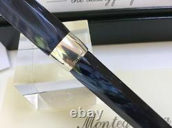 Montegrappa Symphony navy blue celluloid & silver fountain pen NEW 18K fine nib