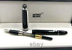 NIB Montblanc 144P Classique Diamond Meisterstuck Platinum Fountain Pen M