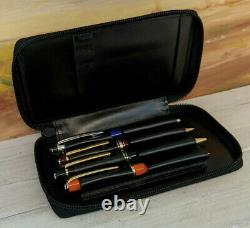 Rare MONTBLANC 4-Pen Zip Black Leather Case
