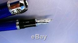 Rare Sapphire Blue Montblanc Jules Verne New, F Nib Fountain Pen