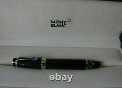 Splendide Stylo Plume Montblanc Boheme Platinum Pierre Bleue Plume Or 18 K