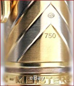 Uninked Montblanc Meisterstuck N. 146 Chevron Solid 18k Gold Fountain Pen /60.5 G
