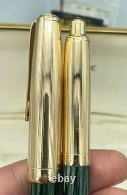 VINTAGE Montblanc 644-G Masterpiece GREEN STIRATED Fountain Pen Pencil set Boxed