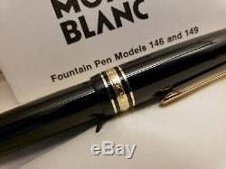 Vintage 1970's MONTBLANC Meisterstuck 146 Fountain Pen with 14C Gold Nib, MINT