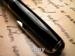 Vintage Montblanc 254 Fountain Pen-Black Piston Filler-14K Nib-Germany 1950s