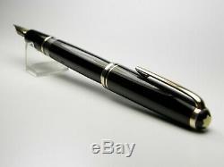 Vintage Montblanc 254 Fountain Pen-Jet Black Piston Filler-14K-Germany 1950s
